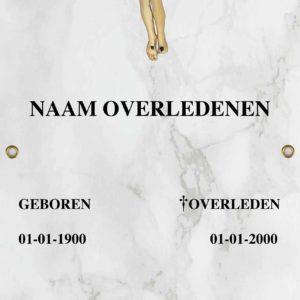 Tijdelijke grafdoek met een witte marmerlook. HB-grafdoeken onderdeel van HB-Creations uit Tilburg (Reeshof)