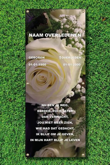 Tijdelijle grafdoek witte roos. HB-Grafdoeken Tilburg