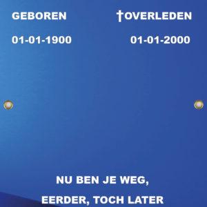 Tijdelijk grafdoek met een abstracte blauwe achtergrond. HB-grafdoeken onderdeel van HB-Creations uit Tilburg (Reeshof)