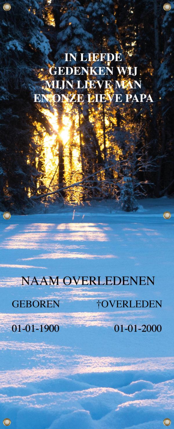 Tijdelijk grafdoek winterlandschap in het bos. HB-grafdoeken onderdeel van HB-Creations uit Tilburg (Reeshof).