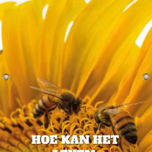 Tijdelijk grafdoek met bijen op een zonnebloem. HB-grafdoeken onderdeel van HB-Creations uit Tilburg (Reeshof).