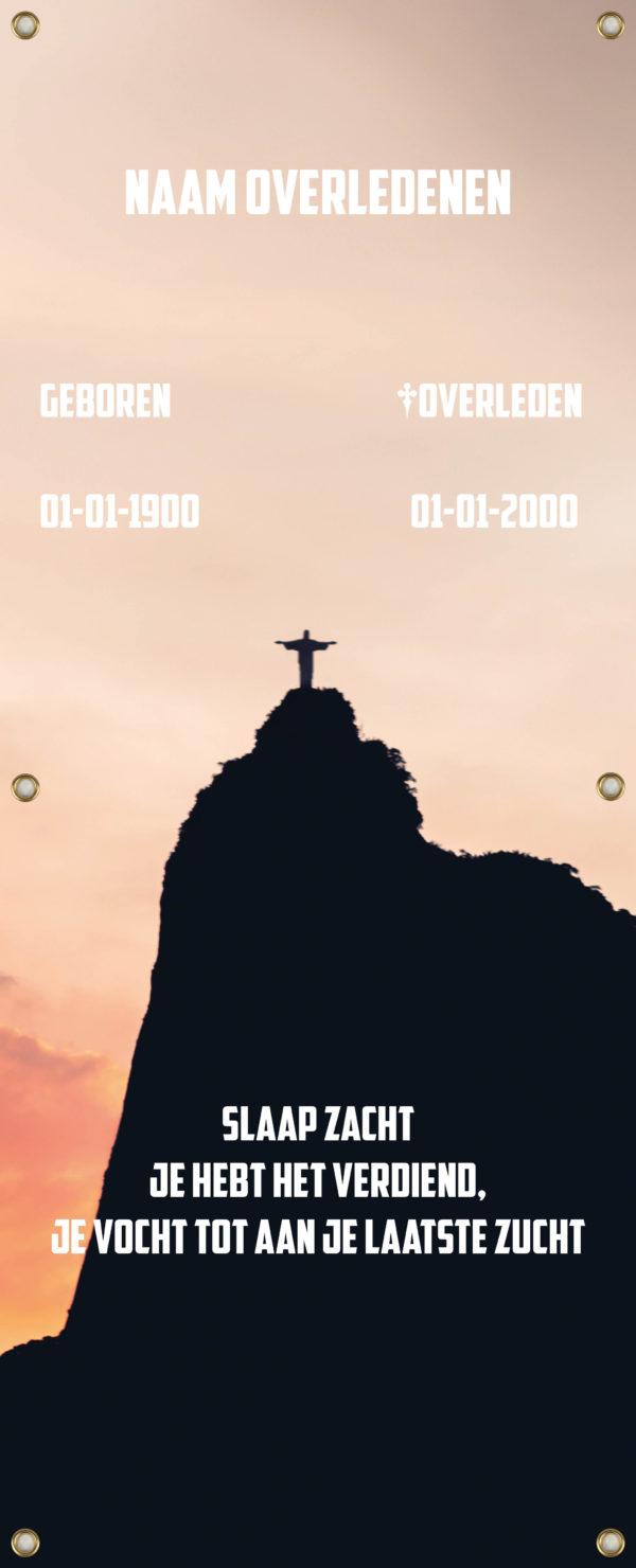 Tijdelijk grafdoek met het Christus de Verlosserbeeld van Rio de Janeiro (Brazilië). HB-grafdoeken onderdeel van HB-Creations uit Tilburg (Reeshof).