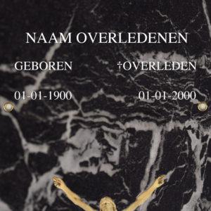 Tijdelijke grafdoek met een zwarte marmerlook. HB-grafdoeken onderdeel van HB-Creations uit Tilburg (Reeshof)