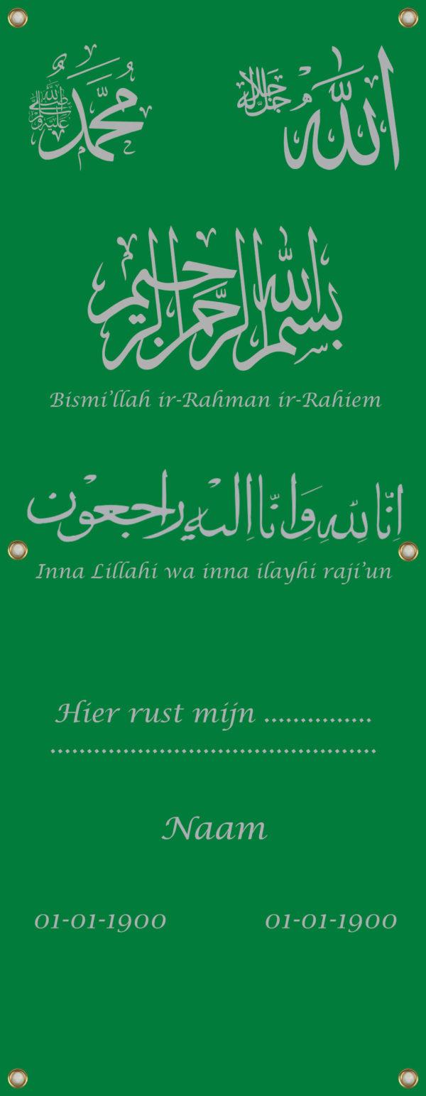 Tijdelijk grafdoek in het islamitisch. HB-grafdoeken onderdeel van HB-Creations uit Tilburg (Reeshof).
